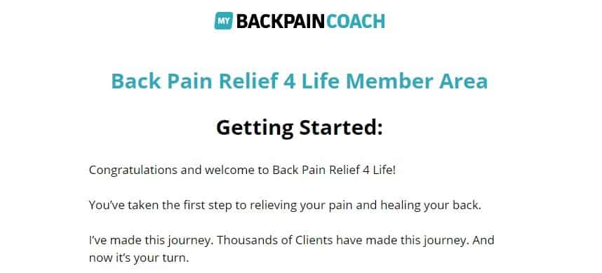 My back pain coach access-page